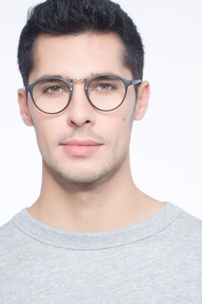Chillax Matte Black/Silver Metal Eyeglass Frames for Men from EyeBuyDirect, Front View