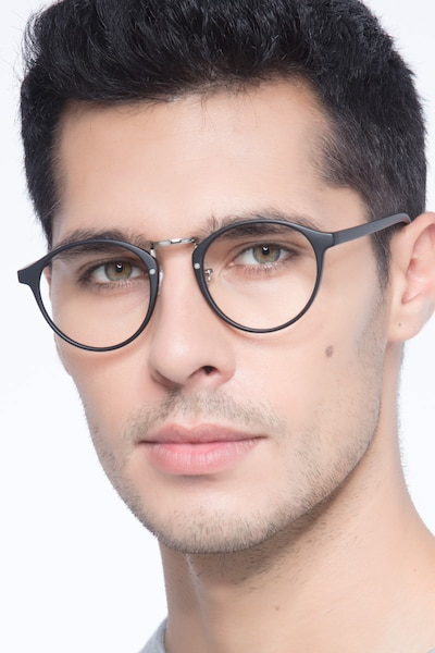 Chillax Matte Black/Silver Metal Eyeglass Frames for Men from EyeBuyDirect