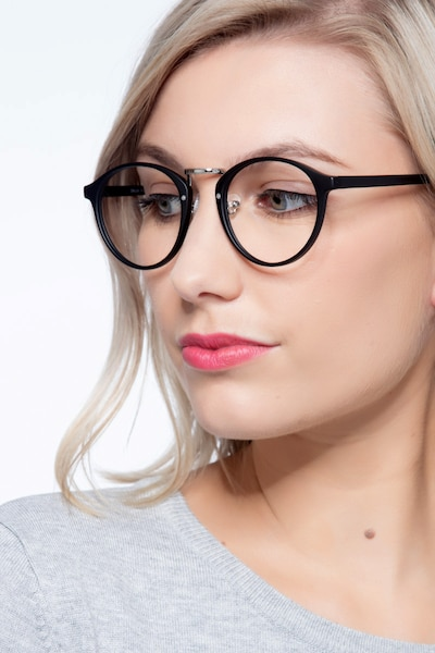 Chillax Matte Black/Silver Metal Eyeglass Frames for Women from EyeBuyDirect, Front View