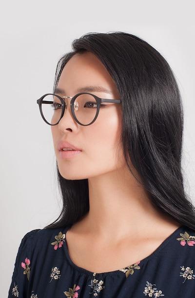 Chillax Matte Black/Silver Plastic Eyeglass Frames for Women from EyeBuyDirect
