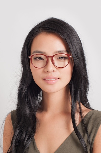Muse Red Plastic Eyeglass Frames for Women from EyeBuyDirect, Front View