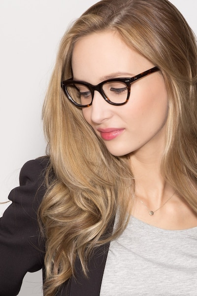 Ellie Tortoise Acetate Eyeglass Frames for Women from EyeBuyDirect