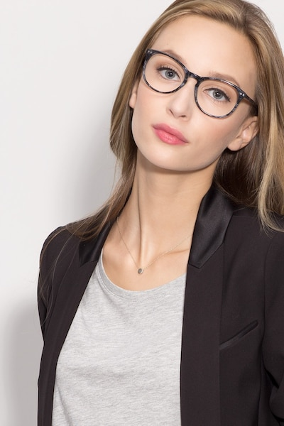 Fiction Gray/Floral Acetate Eyeglass Frames for Women from EyeBuyDirect