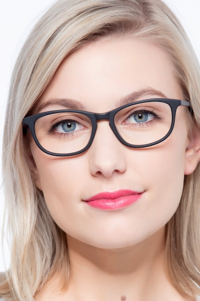 Valentin Matte Black Acetate Eyeglass Frames for Women from EyeBuyDirect