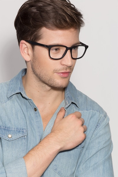 Bristol Matte Black Acetate Eyeglass Frames for Men from EyeBuyDirect, Front View