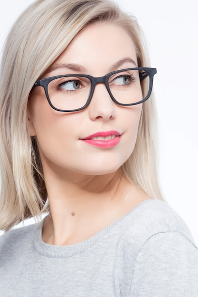 Bristol Matte Black Acetate Eyeglass Frames for Women from EyeBuyDirect, Front View