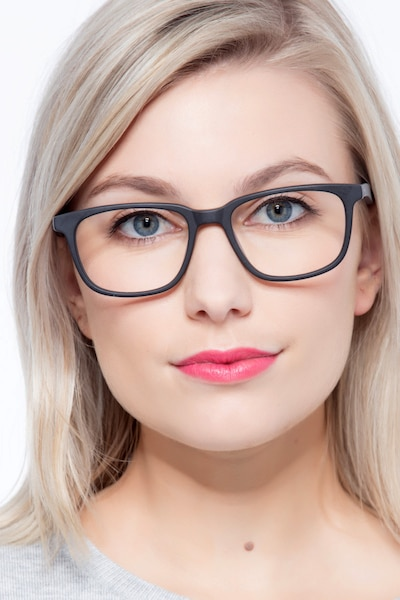 Bristol Matte Black Acetate Eyeglass Frames for Women from EyeBuyDirect