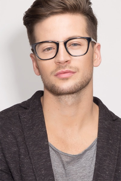 Dandy Black Acetate Eyeglass Frames for Men from EyeBuyDirect, Front View