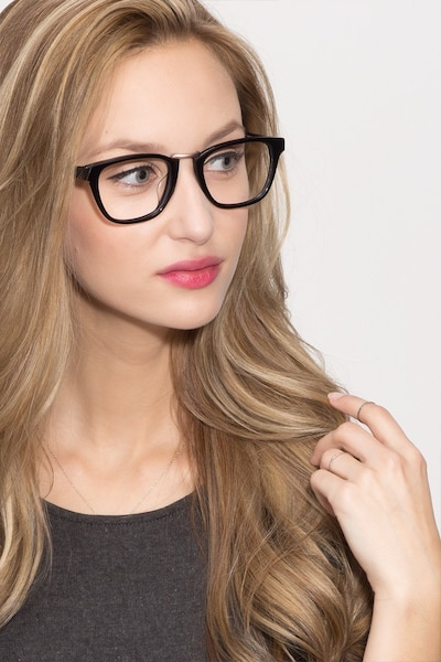 Dandy Black Acetate Eyeglass Frames for Women from EyeBuyDirect, Front View