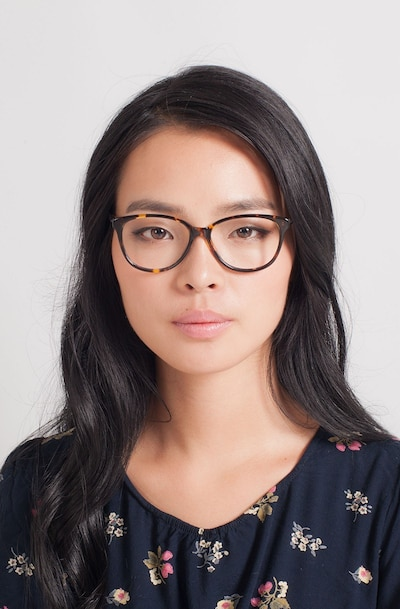 Hepburn Tortoise Acetate Eyeglass Frames for Women from EyeBuyDirect, Front View