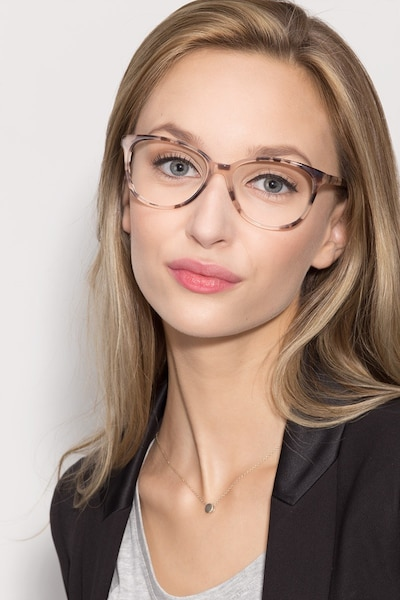 Hepburn Ivory/Tortoise Acetate Eyeglass Frames for Women from EyeBuyDirect, Front View