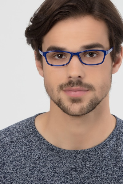 Versus  Navy  Plastic Eyeglass Frames for Men from EyeBuyDirect, Front View