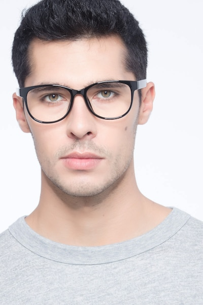 Warren  Black  Plastic Eyeglass Frames for Men from EyeBuyDirect, Front View