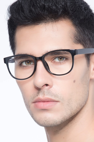 Warren  Black  Plastic Eyeglass Frames for Men from EyeBuyDirect