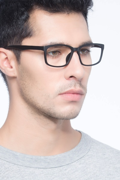 Boston Matte Black Plastic Eyeglass Frames for Men from EyeBuyDirect, Front View