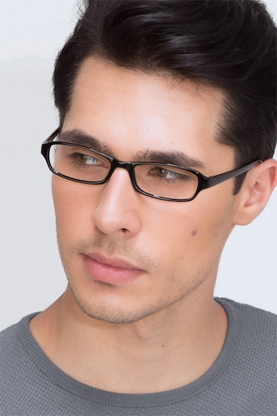 Adept  Black  Plastic Eyeglass Frames for Men from EyeBuyDirect