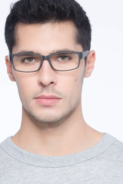 Apollo Matte Gray Plastic Eyeglass Frames for Men from EyeBuyDirect, Front View