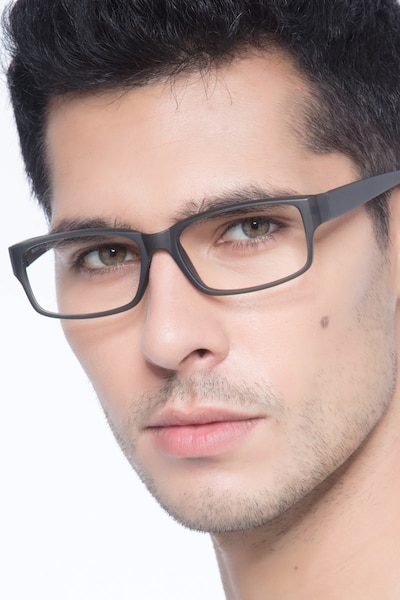 Apollo Matte Gray Plastic Eyeglass Frames for Men from EyeBuyDirect