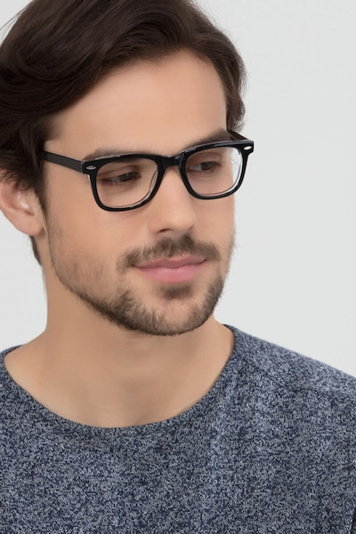 Blizzard  Black  Acetate Eyeglass Frames for Men from EyeBuyDirect, Front View