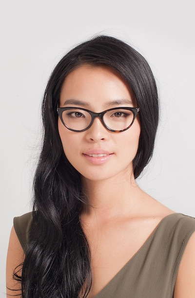 Her Tortoise Acetate Eyeglass Frames for Women from EyeBuyDirect, Front View