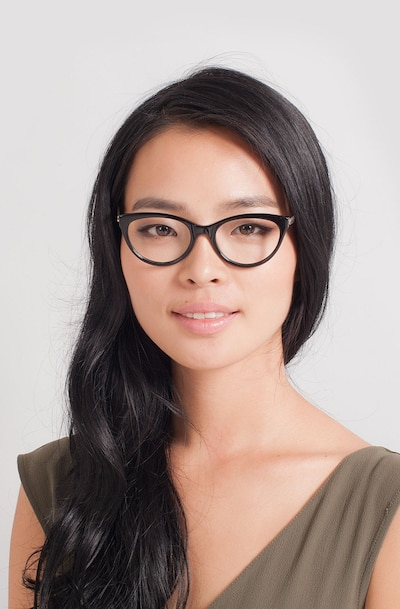 Her Black Acetate-metal Eyeglass Frames for Women from EyeBuyDirect, Front View