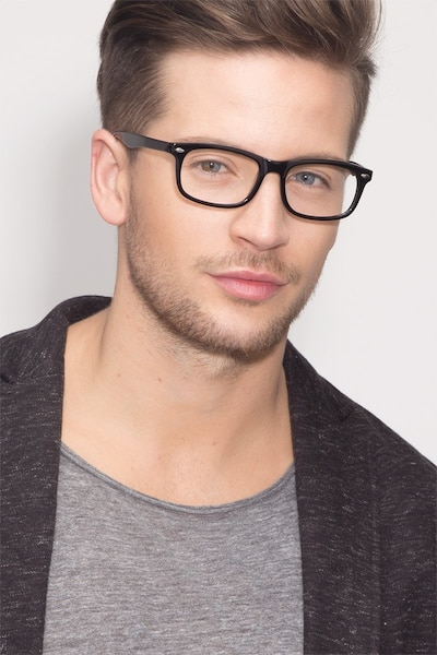 Birmingham Black Acetate Eyeglass Frames for Men from EyeBuyDirect, Front View