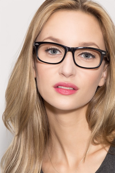 Birmingham Black Acetate Eyeglass Frames for Women from EyeBuyDirect