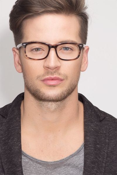 Birmingham Coffee Acetate Eyeglass Frames for Men from EyeBuyDirect, Front View