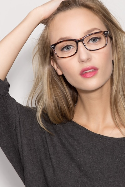 Birmingham Coffee Acetate Eyeglass Frames for Women from EyeBuyDirect, Front View