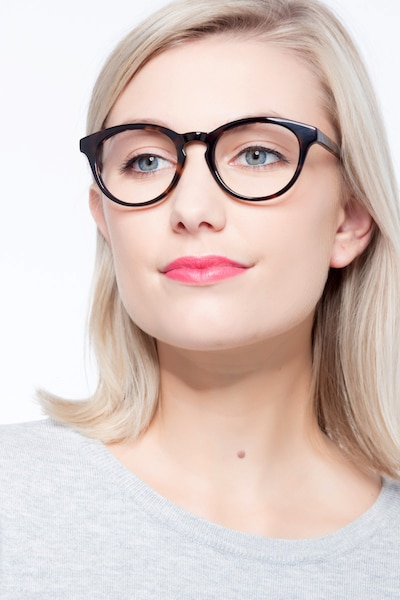 Stanford Tortoise Acetate Eyeglass Frames for Women from EyeBuyDirect, Front View