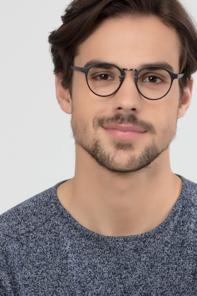 Small Chillax Matte Black/Gunmetal Plastic Eyeglass Frames for Men from EyeBuyDirect, Front View