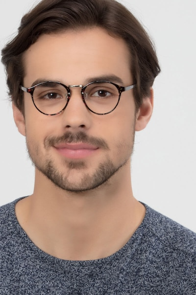 Small Chillax Red/Floral Plastic Eyeglass Frames for Men from EyeBuyDirect, Front View