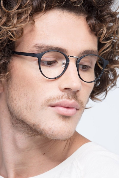 Small Chillax Matte Black/Silver Plastic Eyeglass Frames for Men from EyeBuyDirect