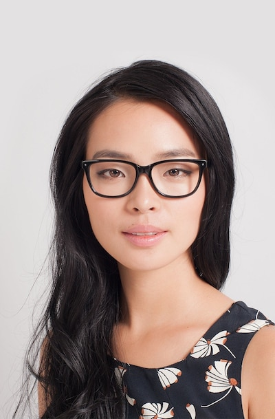 Allure Black Acetate Eyeglass Frames for Women from EyeBuyDirect, Front View