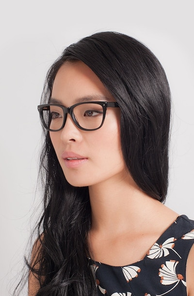 Allure Black Acetate Eyeglass Frames for Women from EyeBuyDirect