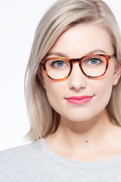New Day Brown Acetate Eyeglass Frames for Women from EyeBuyDirect, Front View