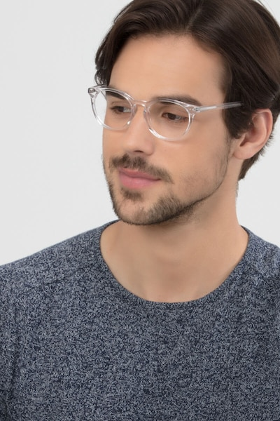 Morning Clear/White Acetate Eyeglass Frames for Men from EyeBuyDirect, Front View