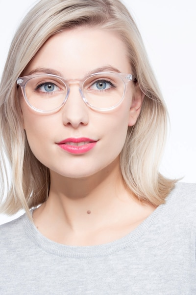 Morning Clear/White Acetate Eyeglass Frames for Women from EyeBuyDirect, Front View