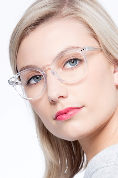 Morning Clear/White Acetate Eyeglass Frames for Women from EyeBuyDirect
