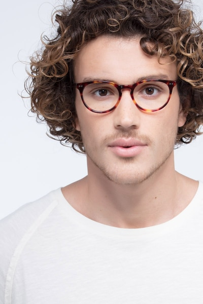 Morning Tortoise Acetate Eyeglass Frames for Men from EyeBuyDirect, Front View