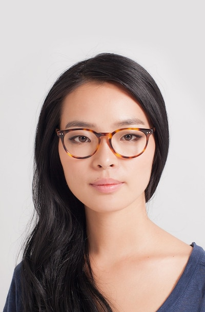 Morning Tortoise Acetate Eyeglass Frames for Women from EyeBuyDirect, Front View
