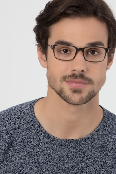 Dreamer Clear/Gray Acetate Eyeglass Frames for Men from EyeBuyDirect, Front View