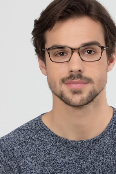 Dreamer Brown/Striped Acetate Eyeglass Frames for Men from EyeBuyDirect, Front View