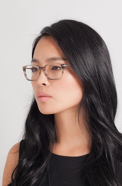 Dreamer Brown/Striped Acetate Eyeglass Frames for Women from EyeBuyDirect