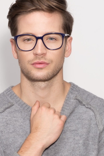Lisbon Navy Acetate Eyeglass Frames for Men from EyeBuyDirect, Front View
