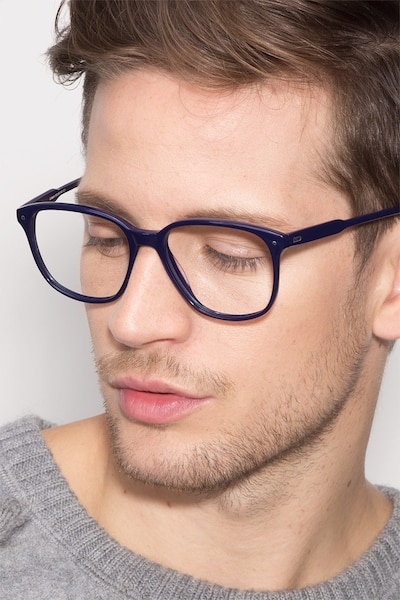 Lisbon Navy Acetate Eyeglass Frames for Men from EyeBuyDirect