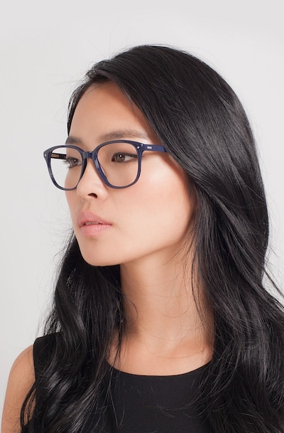 Lisbon Navy Acetate Eyeglass Frames for Women from EyeBuyDirect