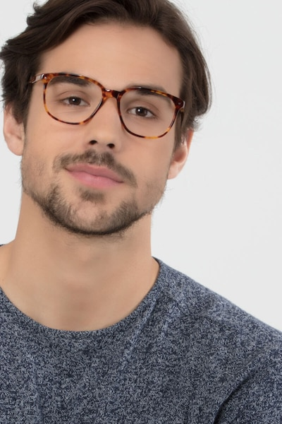 Lisbon Tortoise Acetate Eyeglass Frames for Men from EyeBuyDirect, Front View