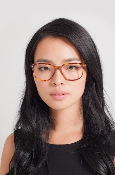 Lisbon Tortoise Acetate Eyeglass Frames for Women from EyeBuyDirect, Front View