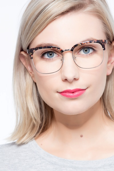 Charleston Silver/Floral Plastic Eyeglass Frames for Women from EyeBuyDirect, Front View